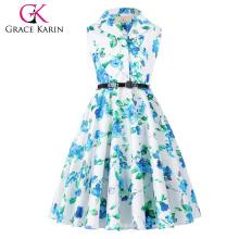 Grace Karin Niños 'Holly' Vintage de los años 50 Vestido retro sin mangas de solapa Collar Niñas vestido de verano CL009000-6