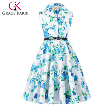 Grace Karin Kids's Holly 'Vintage 50's Dress Retro Vintage sem mangas Lapel Collar Girls Summer Dress CL009000-6