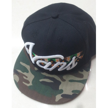 Cheap snapback cap with embroidery logo camo visor adjustable hat