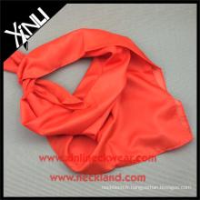 90x90CM Hand Hems roulé à la main 100% Polyester Soie Feel Orange Infinity Scarf