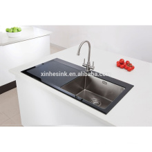 High Quality UK Tempered Glass Stainless Steel Kitchen Sink with Single Bowl