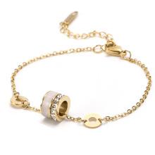 Titanium steel simple square diamond opal small waist white shell bracelet female new anti-fading ring transfer bracelet