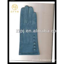 Heiße Verkaufsdamen blaue Farbenschwein-Velourslederlederhandschuhe mit konkurrenzfähigem Preis