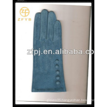 Hot sale ladies blue color pig suede leather gloves with competitive price