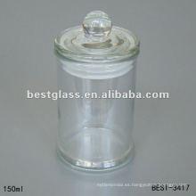 Tarro de cristal grande transparente de 150ml con tapa de vidrio transparente