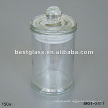 150ml clear large glass jar with clear glass cap