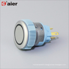 22mm Flat Button Ring Illuminated SPDT Momentary IP67 Silver Color Plastic Push Button Switch