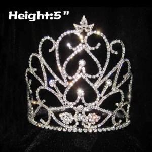 Coronas de reina de cristal únicas de corazón de 5 pulgadas