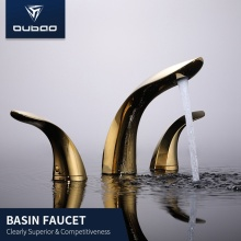 Modern Widespread Dual Handle Brass Golden Bathroom Faucets