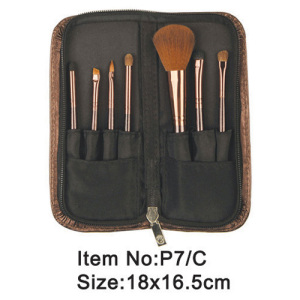 7pcs black plastic handle animal/nylon hair makeup brush tool set with black canvas zipper case