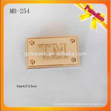MB254 Gold Farbe Metall Etiketten gravieren konkaven Logo Metall Tag für Tasche Metall Logo