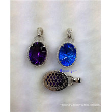 Jewellery-Color Quartz Sterling Silver Pendant (P1454)