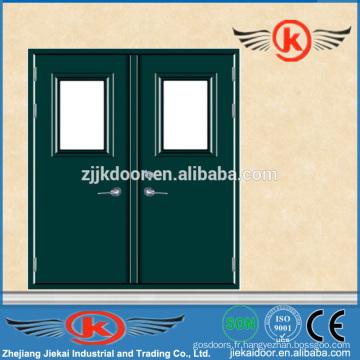 JK-F9008 tailles de portes doubles standard / porte ignifuge à usage professionnel / porte ignifuge en verre