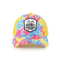 Colorful print trucker cap with woven label