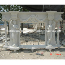 European Style Lady Statue Marble Fireplace (SY-MF198)