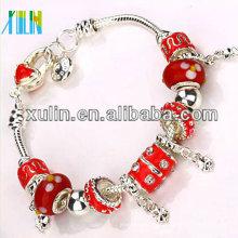 nuevo producto rojo perlas de goteo de aceite esterlina galjanoplastia pulseras de plata