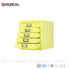 Orizeal 5-tier yellow storage cabinet metal drawings filing cabinets wide five drawers cabinet(OZ-OSC031)