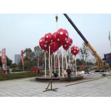 Grande sculpture en ballon en acier inoxydable abstraite pour décoration urbaine