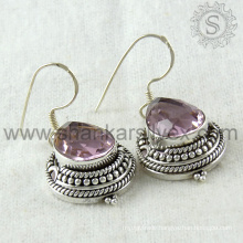 Bridal accessories pink cz silver earring gemstone handmade jewelry 925 sterling silver jewellery exporter india