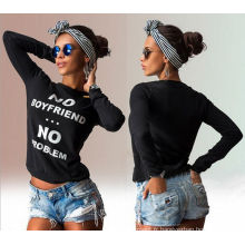 2016 Vente en gros Custom Fashion Balck T-shirt à manches longues
