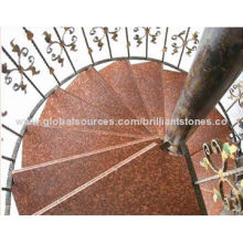 Imperial Red Granite Stair with Tread and Raiser, Customized Sizes/Edges, for Interior Decoration