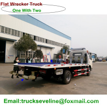 One with Two Flat Bed Towing Wrecker Truck for Sale