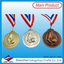 Liga de zinco 3D Medalha de Futebol Die Cast Ouro Prata Medalha de Bronze, Medalha com o seu próprio logotipo