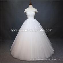 O luxuoso mangas o vestido de casamento frisado pesado de China guangzhou do bordado