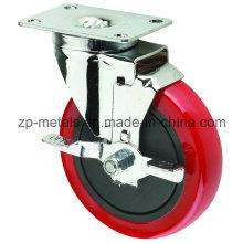 Roda de rodízio de PVC de médio porte com travão lateral