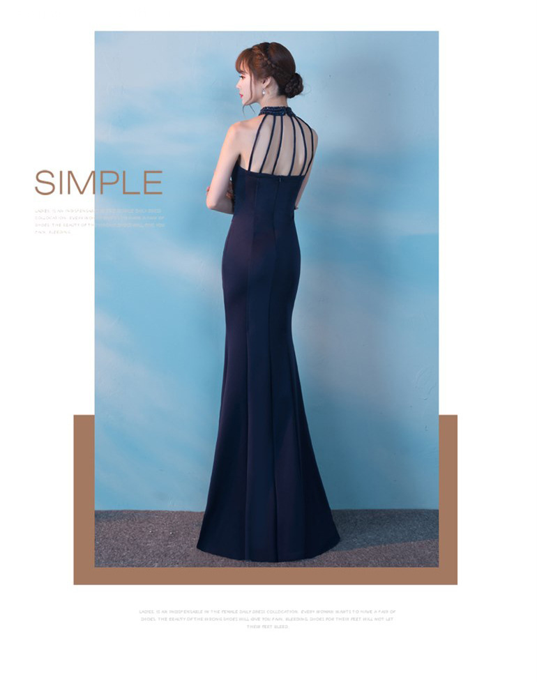 Sexy Deep V Tail Cultivar Out Backless Banquete largo Hosted Vestido de noche