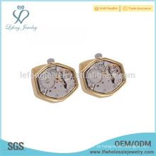 Jóias de ouro antigo abotoaduras gravadas, abotoaduras de relógio de chapeamento de ouro