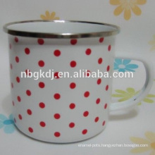 450ml enamel colored plastic tea cups with SS rim