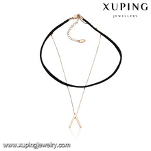 43613 joyería al por mayor de las señoras de la manera collar de gargantilla de cuero invertido del diseño de la cadena de V