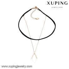 43613 gros mode dames bijoux inversé V chaîne design en cuir collier ras de cou
