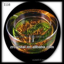 Cendrier en cristal K9 et glaçure colorée