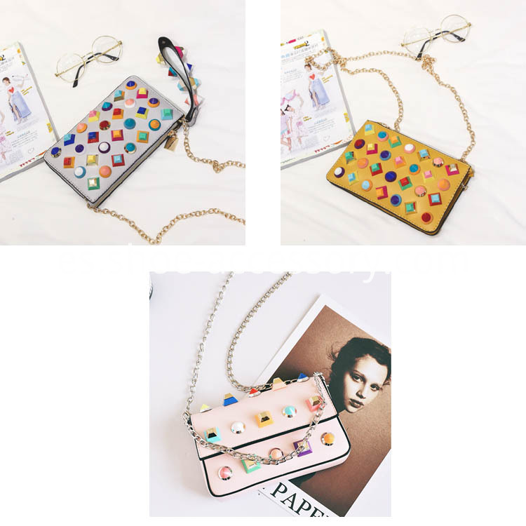 Multicolored ABS Studs Embellished Handbag