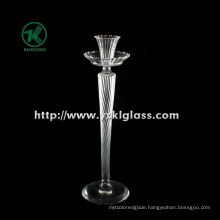Glass Candle Holder with Single Post by BV (8*9.5*31.5)
