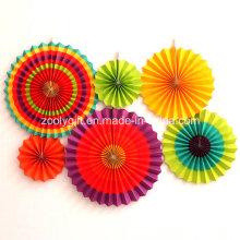Foldable Party Décoration suspendue Handmade Paper Wheel Fan Fleurs avec corde et autocollant