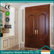 Entrada de madeira esculpida porta exterior de folha dupla