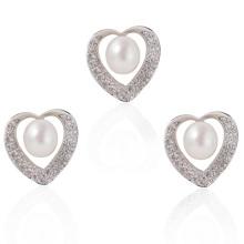 Conjunto de jóias de pérola de prata, jóia do casamento da pérola