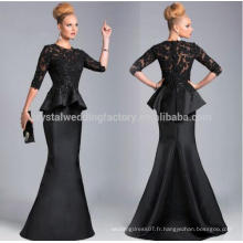 2017 Best Selling Sexy O-Neck Half Sleeves Ruffles Appliques en dentelle Beaded Black Mermaid Mère de la mariée Robes MM921