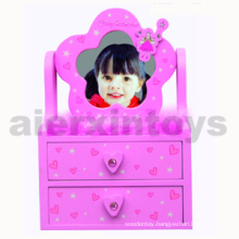 Wooden Jewelry Box with Mirror
