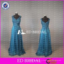 2017 ЭД Свадебные элегантный Cap рукавом длинные Королевский синий шифон мать невесты платье с цветок створки