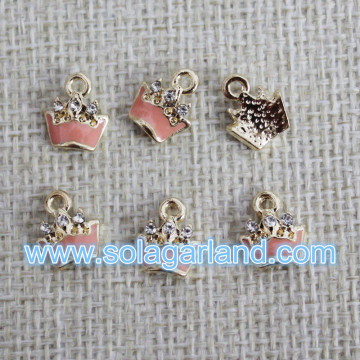 8*9MM Drop Pink Oil Wholesale Metal Crown Charms Pendants
