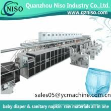 El servo automático completo de Huggies del bebé jala el pañal del entrenamiento del bebé jadea la máquina de fabricación de pañales con Mitsubishi