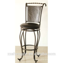 Black KD Style Metal Bar Chair, Swivel Backrest Bar Chair com Almofada