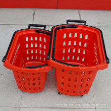 Supermarket Rolling Plastic Shopping Handle Basket