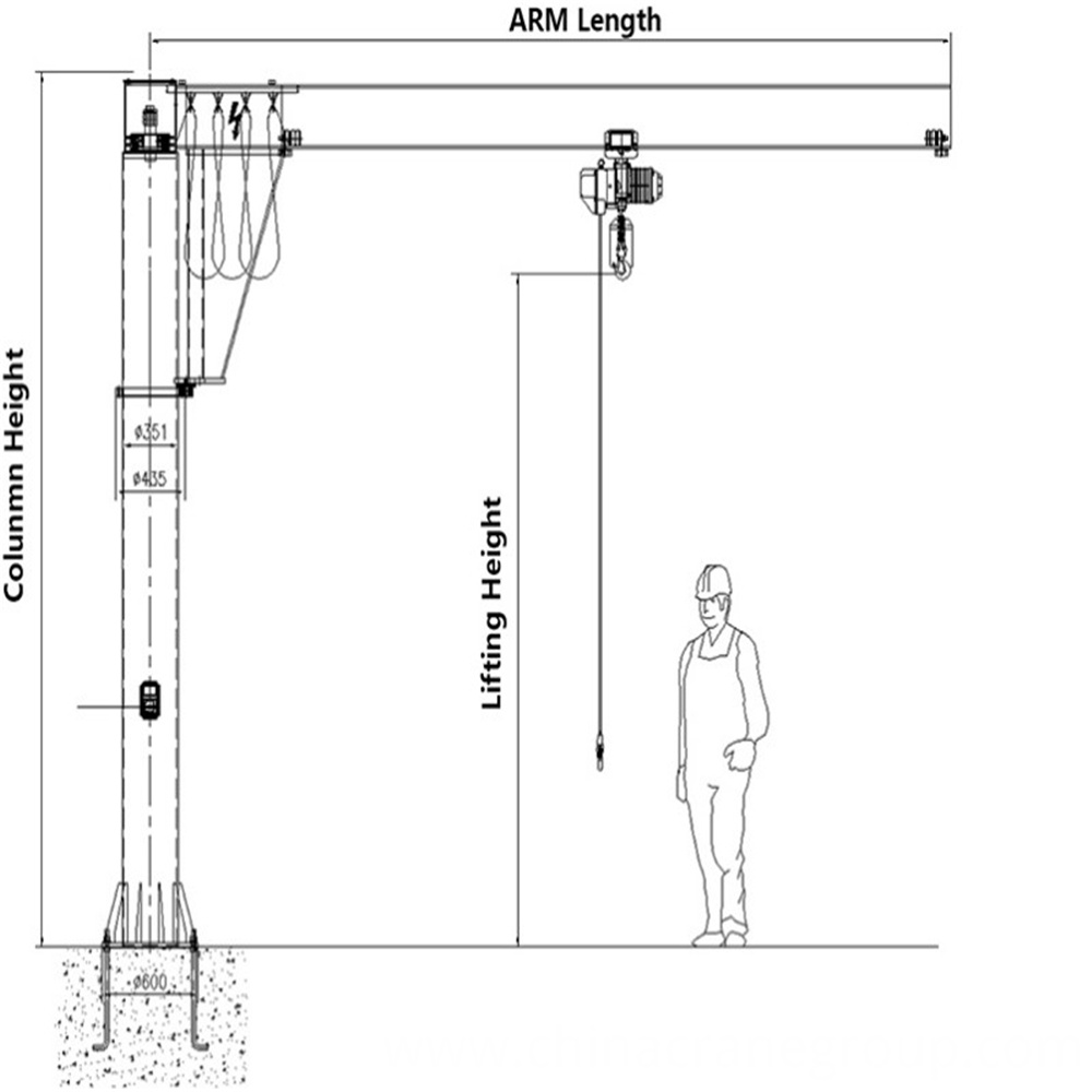 FLOOR JIB CRANE GENERAL DRAWING-LT CRANE