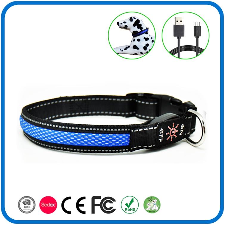 Rechargeable Led Flashing Pet Dog Collars Untuk Natal