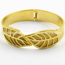 2015 folha aço inoxidável chapeado bracelete